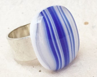 Striped fused glass ring, blue womens ring