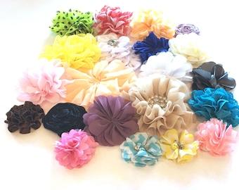 "Grab Bag of 21 Flowers - Assorted Grab Bag Flowers -Wholesale Flowers - 2 - 4"" in size - Wholesale Headband Supplies"