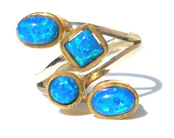 Blue Glass Opal Ring Geometric on Sterling Silver 925 Gold Washed Bezels Size 6 - Vintage Jewelry