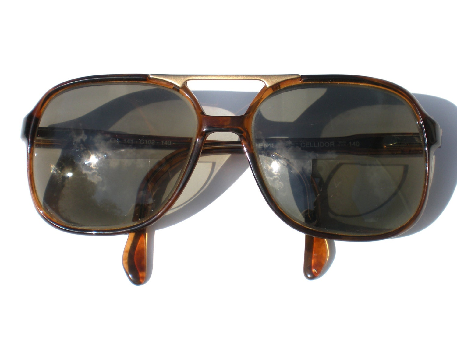 Big Gold Frame Sunglasses : Mens 80s Glasses or Sunglasses Brown Frames Large with Gold
