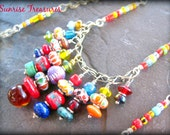 Trade Bead Necklace, Tribal African Necklace, Colorful Global Jewelry, Kuchi Charm Necklace, Nomad Ethnic Necklace, African Jewelry