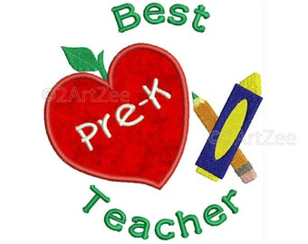 PreK Kindergarten  Teacher Best Teacher Machine Embroidery Applique Design Apple Crayon Pencil Heart