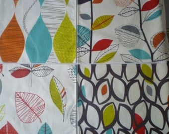 Orange Napkins 4 Different Designs Funky Retro Fabric Napkins washable ANY of MY DESIGNS