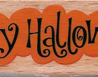 Happy Halloween Stamp  --  NEW  -- Wood Mounted Rubber Stamp  --  Studio G Brand  --  (#1781)