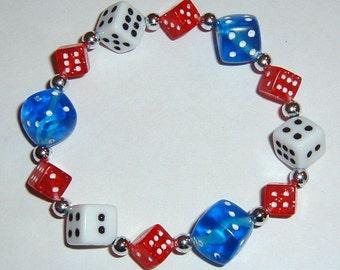 Red, White and Blue Dice Bracelet - Patriotic - Bunco / Bunko / Casino / Poker Party