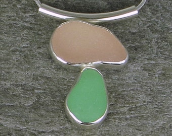 Pink and Green Sea Glass Bezel Pendant necklace