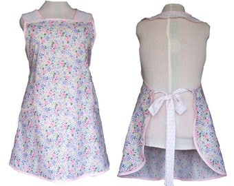 Plus Size Apron, Shabby Chic Apron Pretty Summer Flowers and Pink Polka dots - Full Figure Kitchen Apron - Size 2XL - Ready to Mail