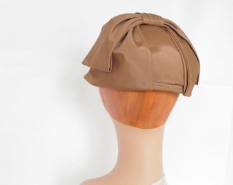 Vintage 1960s hat, brown taffeta halfhat bow