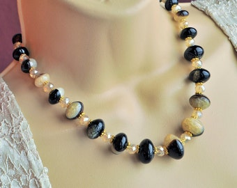 Black and Tan Agate Gemstone, Champagne Crystal and Gold Necklace and Earring Set
