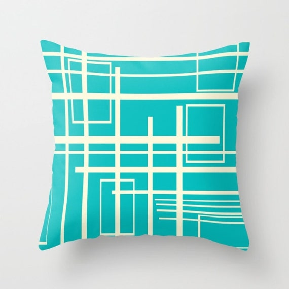 Modern Pillow Covers Etsy : Items similar to Modern Pillow Cover, Teal Pillow Cover, Mid Century Modern Pillow Cover, Cool ...