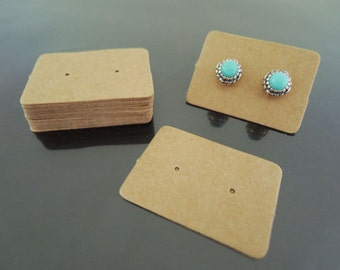 100pcs Earring Kraft Paper Tags - Kraft Tags Earring Tag Price Tags Brown Tag Plain Tags with Two Holes 2.5cm x 3.5cm