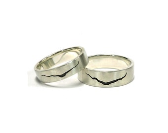 Smaller/Thinner band - Dr Who inspired Crack in Space and Time Ring Sterling Silver Gold Plated