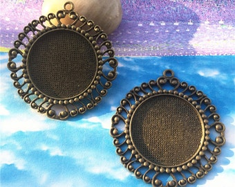 heavy 4pcs 48mm antiqued bronze filigree flower round pendant blanks fit 30mm cabochons