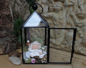 Fairy in a Lantern, Polymer Clay Collectible
