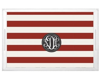 Stripes Pattern Tray - Wedding Shower Brunch Tray -  Housewarming Gift Tray - Custom Pattern Design with Monogram - NC State Wolfpack Decor