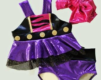 Girls Clawdeen Monster High inspired Swim Suit