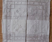 Pure Linen Embroidered Handkerchief Hankie New Old Stock