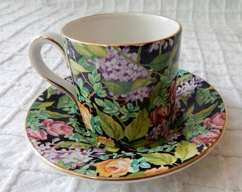 STAFFORDSHIRE Lord Nelson Black Beauty Chintz Demitasse Cup and Saucer