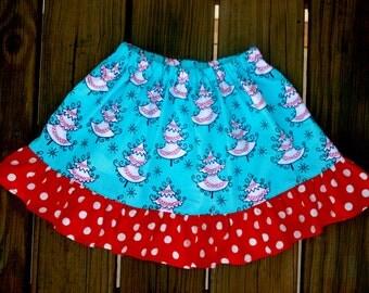 Christmas Tree Girls Skirt Blue Red Skirt  Ruffle Skirt  Christmas Skirt.