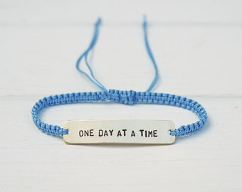 One Day At A Time Sterling Silver or Brass and Macramé Bracelet, Choice Of Colours Available. Friendship Bracelet