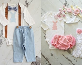 Twins Baby Boy & Baby Girl Easter Sets. Boy Bunny Bow Tie w Suspenders Pants, Girl Bunny Bow Bodysuits, Leg Warmers Diaper Cover Headband