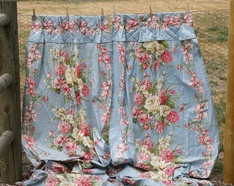 ON SALE Pretty Pair of Vintage Robins Egg Blue Curtain Panels Roses/Florals Curtains Drapes - Polished Cotton Chintz - Sold As Is