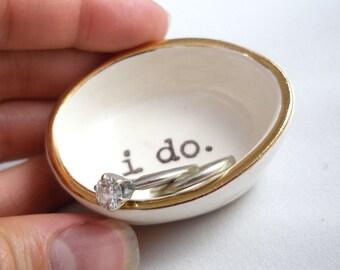 handmade i do RING HOLDER wedding ring holder, engagement ring dish, gold ring holder, gift for bride, wedding gift for couple, gift for her