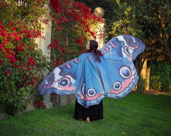 Blue butterfly cape isis wings costume adult Buckeye butterfly scarf chiffon belly dance