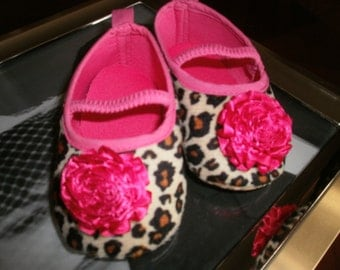 Baby Girl Shoes, Crib Shoes, Leopard Shoes Photo Prop, Trendy Shower Gift, Hot Pink, Infant, Newborn, Mary Janes Shoes, Flower/Rhinestone