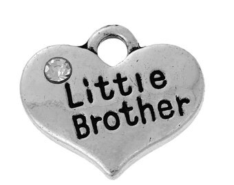 "1 or 2 or 4 pcs. Antique Silver ""Little Brother"" charm with rhinestone- 16 mm X 14 mm"