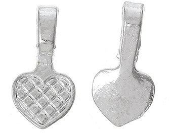 25 pcs. Silver Plated Small Heart Tag Glue On Bails - 16mm x 8mm