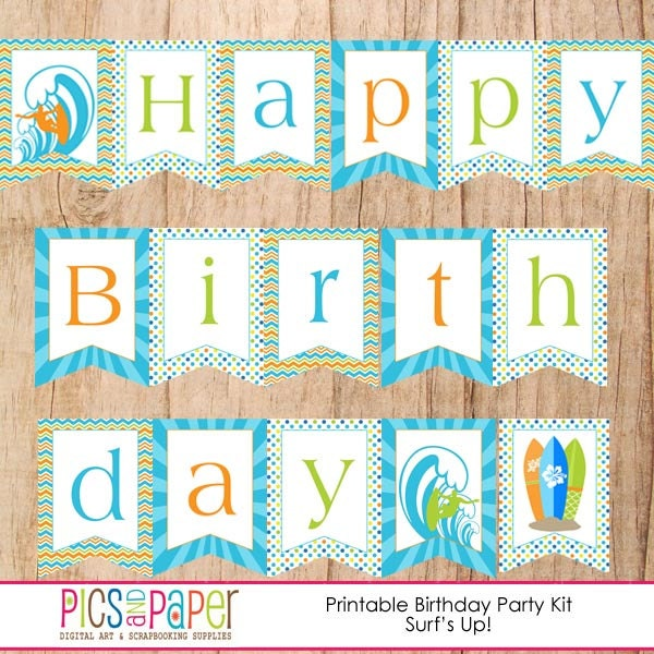 Surf Theme Happy Birthday Banner With Surfboards Wave