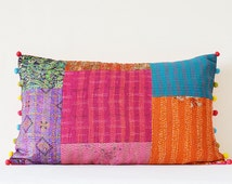 Vintage Sari Hand stitched Kantha Cushion Cover , Bright Decorative Pillow , Accent Pillow, Lumbar Pillow, Vintage kantha Cushion Cover