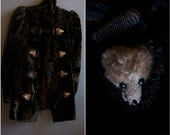 faux taxidermy heads on a Victorian/turn of the century coat animal head closures passementerie edwardian coat silk velvet victorian coat