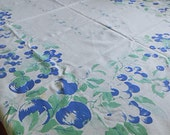 """BLUE APPLE & CHERRY Tablecloth Green Leaves Medium Weight Washable Cotton, Vintage 1950s Table Linen 50"""" by 66"""""""