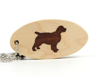 Wood English Springer Spaniel Key Chain, Pet Key Ring, Wood Dog Breed Key Fob, Wood Dog Key Chain, Pet Accessories, Spaniel Key Ring
