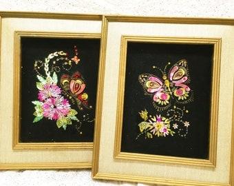 Vintage Mid-century Wall art Black Velvet Sequins Butterfly Framed Pair Kitschy