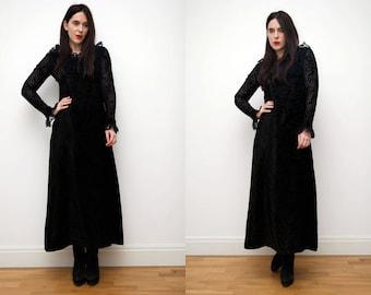 Vintage Black Lace Gothic Maxi Grunge Dress 70s