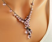 NEW Lavender Pearl Necklace, Pink Amethyst Gemstones, Lilac Mauve, Freshwater Cluster, Oxidized Sterling Silver Jewelry, Free Shipping