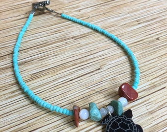 Etched Sea Turtle Anklet