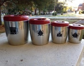 Vintage Set of 4 West Bend Canisters Red Kitchen Flour Sugar Coffee Aluminum
