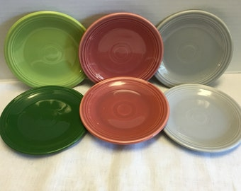 Vintage Six HLO Fiesta Bread Butter Plates Grey Green Rose Pink