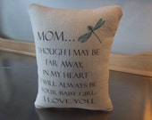 Mom birthday gift, daughter to mom gift, mom pillow, cotton throw pillow, sentimental, I love you cushion, canvas pillows,  pillow gift