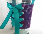 Adjustable - Reversible - With Handle - The Cup Corset - Cup Holder - Coffee Cozy - Teal - Purple - Turquoise - Tye Dye