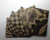 Pattern Kraft Mini Envelopes set of 5 - Handmade envelopes, Office supplies, Kraft card stock
