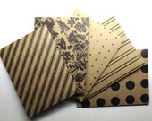 Pattern Kraft Mini Envelopes set of 5/ #3 - Handmade envelopes, Office supplies, Kraft card stock