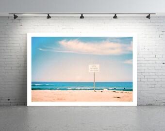 Beach Photography Photo, Sydney Beach, 35mm Film Photography, Bathe Between The Flags Sign, Sign on Beach Photo, Beach and Sand Photo
