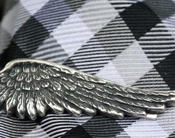 Mens Tie Clip Wing Feather  Tie Clip Angel Wing Tie Clip  Gift Mens Accessories Silver Violin Tie Clip Wedding Tie Clip