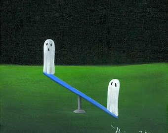 Original Painting Ghost Up Ghost Down - 6x6 - Halloween Folk Art - 2 Ghosts ride a Teeter Totter at the playgound - OOAK Acrylic on Canvas
