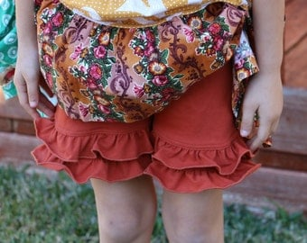 burnt orange rust orange knit double ruffle shorts shorties bloomers sizes 12m - 14 girls